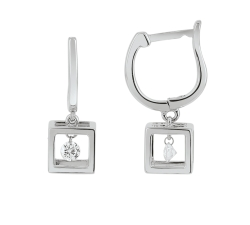 Boucles d'oreilles - Diamants, or blanc