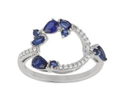 Bague – Diamants, saphirs, or blanc