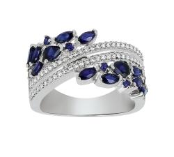 Bague - Diamants, saphirs, or blanc
