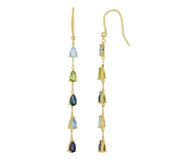 Boucles d'oreilles - Pierres fines multi-couleurs, or jaune