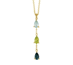 Collier - Pierres fines multi-couleurs, or jaune