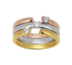 Bague «Trilogy Rendez-vous» - Diamants, or rose, or blanc, or jaune