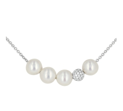 Collier - Diamants, perles de culture d'eau douce blanches, or blanc