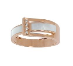 Bague - Diamants, résine nacrée blanche, or rose
