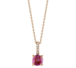 Collier - Diamants, saphir rose, or rose