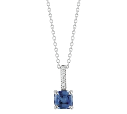 Collier - Diamants, saphir bleu, or blanc