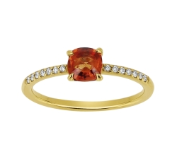 Bague - Diamants, saphir orange, or jaune