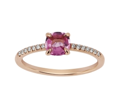 Bague - Diamants, saphir rose, or rose