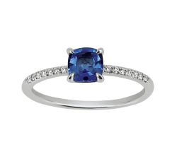 Bague - Diamants, saphir bleu, or blanc