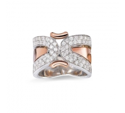 BAGUE - DIAMANTS, OR BLANC ET ROSE